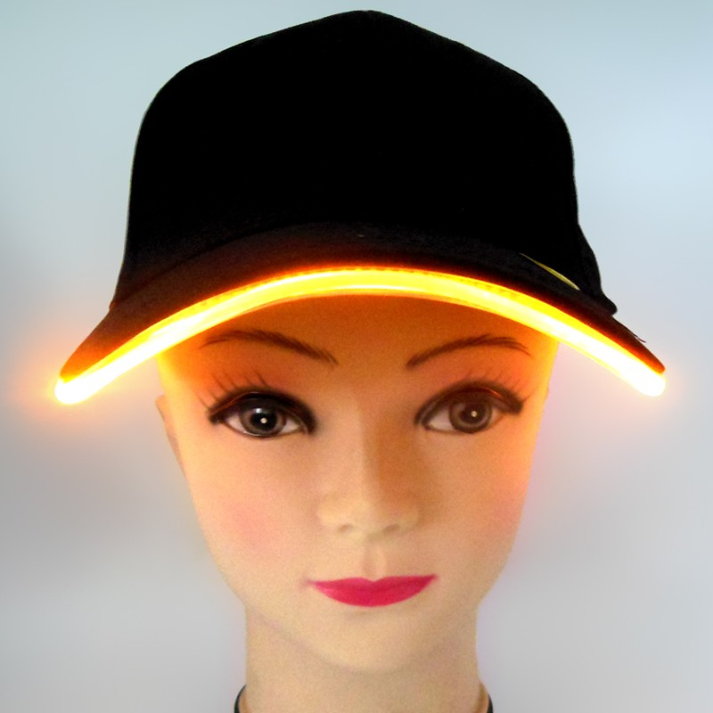 Cotton Black Flashing LED Baseball Cap