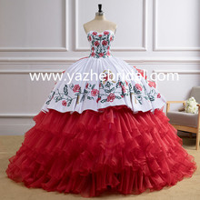 Beaded Embroidery Ball Gown Red White Puffy Organza Ruffles 2018 New Western Elegant Quinceanera Dress