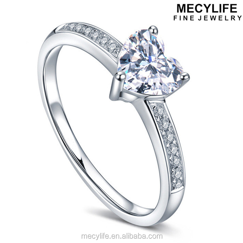 MECYLIFE White Gold Plating Mirco Diamond Setting Heart-shaped Sapphire Stone Ring