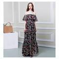 summer long dress beach maxi dress lotus leaf sleeve chiffon dresses wholesale OEM supply