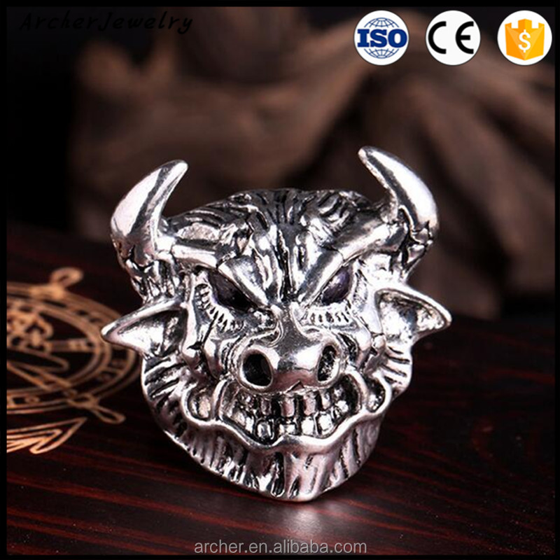 Wholesale punk silver ring Antique Silver men's ring RI-013