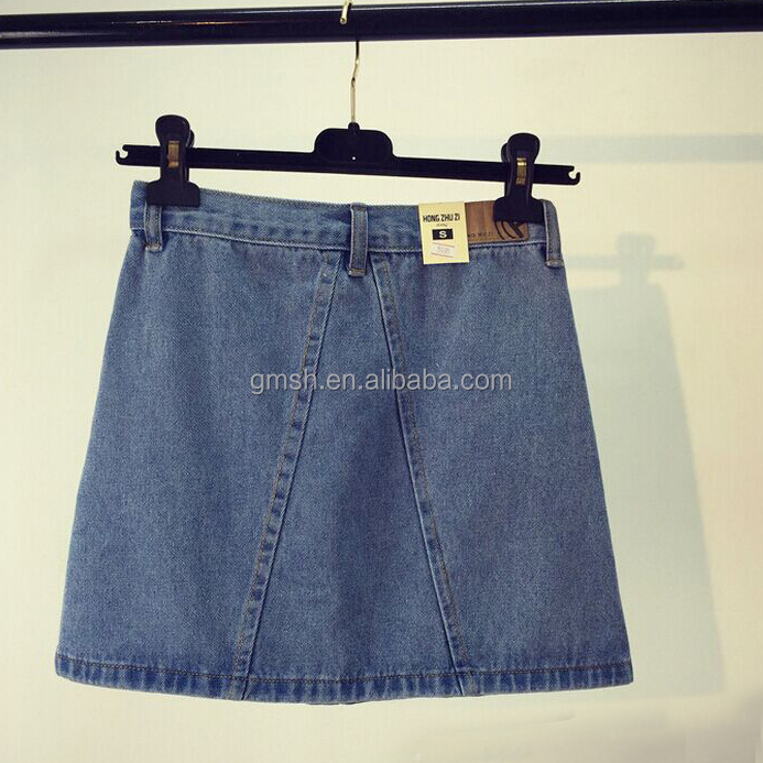 Vintage Wash custom front pocket gril Denim Skirt korean style