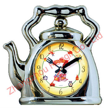Plastic Kitchen Colorful Wall Clock With Teapot Shape