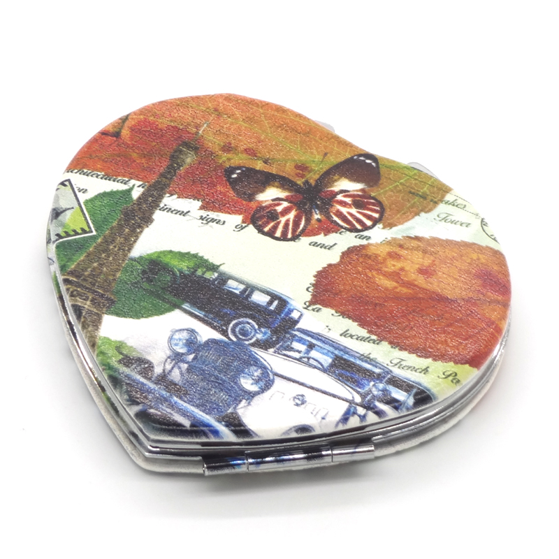 Good quality custom PU leather heart shaped cosmetic mirror