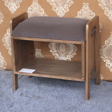 Bamboo wood Ottoman Seat 2 tiers wooden shoe rack bench