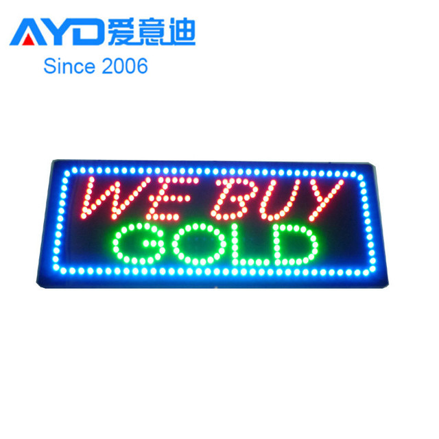 2016 Factory Ali Express Big Size Flashing Edge We Pay More for Diamonds Gold Silver Shop Name Board LED Open Sign for Business