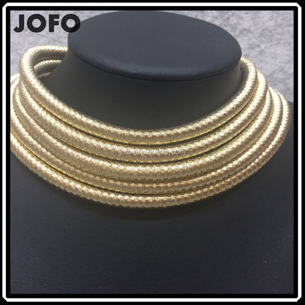 Fashion Golden Color 5&6 Rows Collar Choker Necklace Statement Collar Necklace <strong>Accessories</strong> For Women