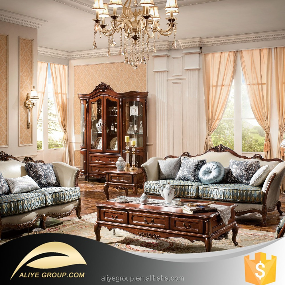 As16 Luxury Living Room Furniture And Wooden Carved Sofa