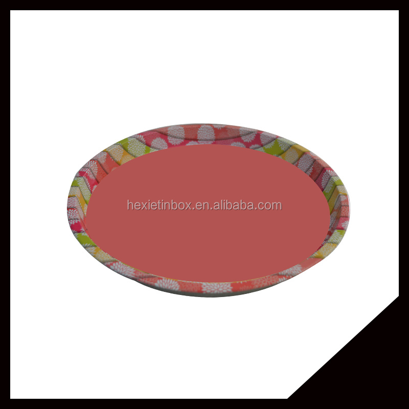 Wholesale Latest Design Round Metal Tin Tray Serving Tray For Food/Fruit