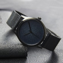 Black mesh band oem brand japan movt watch manual water resistant quartz watches 3 bar