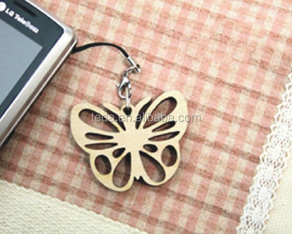 2015 hot butterfly shaped wood charms scrapbook decoration