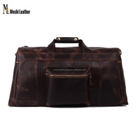 1098 Moshi Dark Brown Genuine Cowhide Leather Travel Luggage Bag Large Travel Holdall Bag for Men