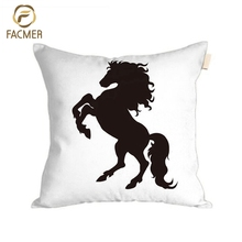 Wholesale Best Selling black horse Fabric Digital Print decorative Cushion Cover Owl car seat Pillow Case Cover