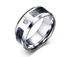 Fashion jewelry, 8 mm stainless steel blue + black carbon fiber zircon ring, simple fashion YSS495