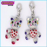 Colorful stone bear charms, shiny crystal trendy bear pendant jewelry fashion charm