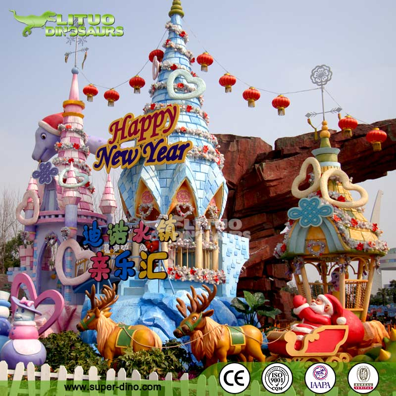 Fiberglass sculpture for outdoor theme park decorations for Amusement park decoration ideas