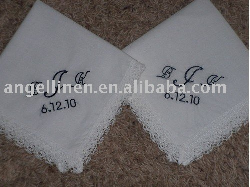 monogramming wedding gift handkerchief with roll up edge and hemstitches