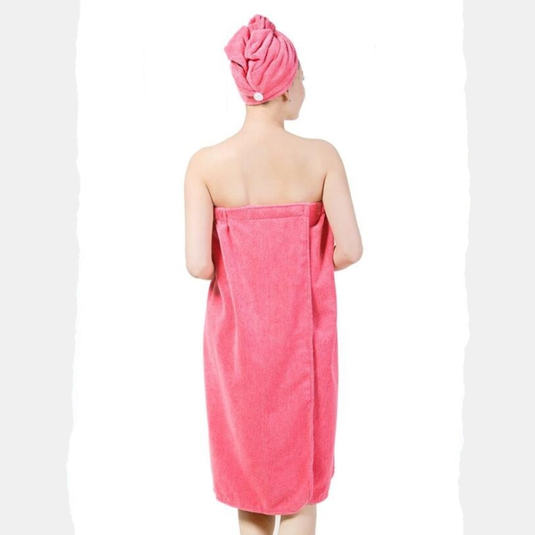 Hot wholesale microfiber quick dry absorbent bath wrap dressing towel sleeveless bathrobe with snap closure