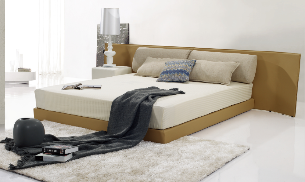 wholesale bedroom furniture bed leather with high headboard home