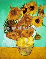 Golden Sunflowers in the Vase Autumn Canvas Oil Painting