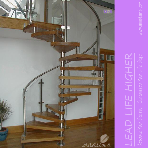 Low Price Indoor Acacia Wood Spiral Stairs