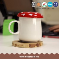 Brand new cute design red lid mushroom shape gift mug