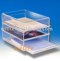 3 tier clear Acrylic document file drawer case