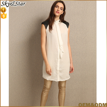 Summer small crew neckline long style loose blouse for fashion ladies