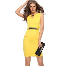 2017 hot selling metal buckle slim dress little v-neck dress pencil skirt women office dresse