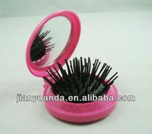 Real factory OEM & ODM Small Round Plastic Foldable Makeup Hair Brush And Mirror Set, Travel Kit