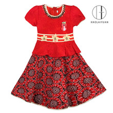 890-3 Red Haolaiyuan Attractive price new type lace baby party girls birthday dress