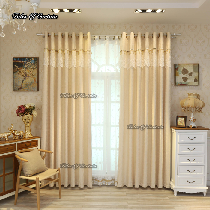 Tales of curtain light yellow with split joint lace side thick blackout curtain fabric