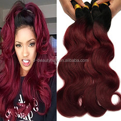 Black Rose Hair Body Wave Brazilian Ombre Human Virgin Remy Hair Bundles Extension Color 1b/99j Burgundy Hair Weaves