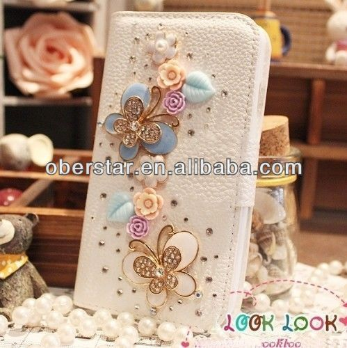 Luxury Bling Crystal Flip Wallet PU Leather Case Cover for iPhone5s