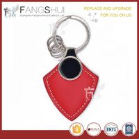 Red leather & metal keychain/hot new products for 2015 cute leather key chain