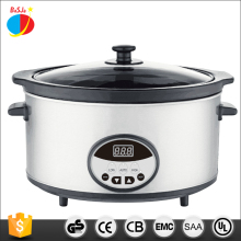 6.5QT Chinese stainless steel industrial digital electric slow cooker with clay crock pot and tempered glass lid