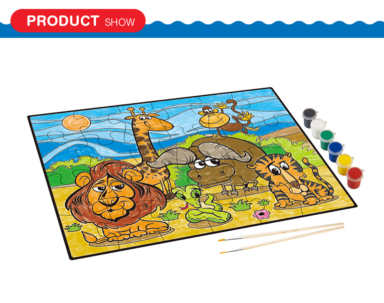 6 colors coating cartoon animal jigsaw super graffiti cardboard puzzle for kids education