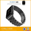 High quality Stainless steel watch strap five solid bead watch band with straight curved end
