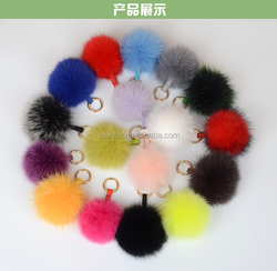 hl-113Size 10-15 cm Real dyed colour whole fox fur skin Woman nice fur ball bag charms fur pom car key holder