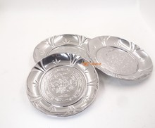 Elegant Stainless Steel Wedding Charger Plates /Embossing Flower Serving Tray