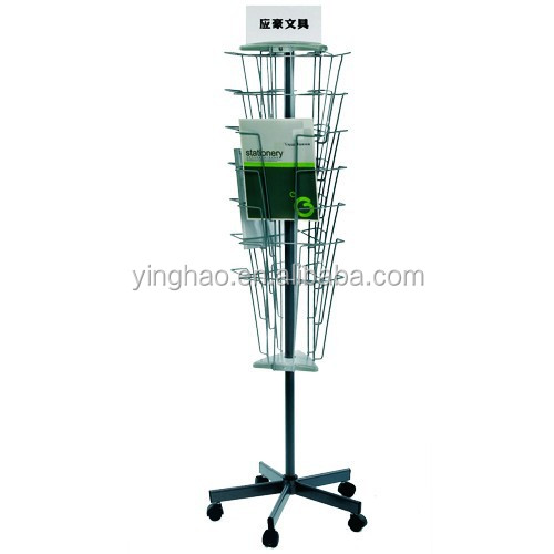 Wholesale custom book brochure spinner rack, gift card display rack