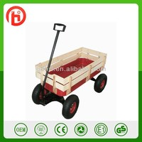 Removable garden wooden Tool cart TC1801 with fence