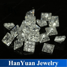 Fancy cut square shape white color sudoku cz stone wax setting