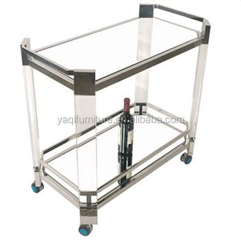 Hotel Acrylic Stainless Steel Room Service Cart Custom Clear Acrylic Metal Hotel Trolley