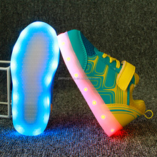 Shenzhen Supply Unisex led shoes children kids sports shoes led light kids shoes