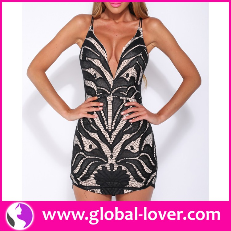 New arrival girls sleeveless big V neck short sexy night club wear