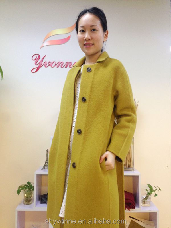 lady women top French style winter thick warm wool long sleeve outer wear coat
