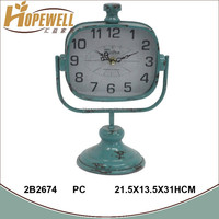 distress blue metal table clock , desktop digital alarm clock