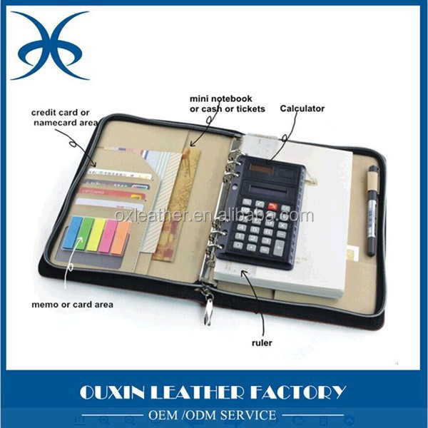 Fashion genuine leather notebook cover with card holder pen holder &calcaulator