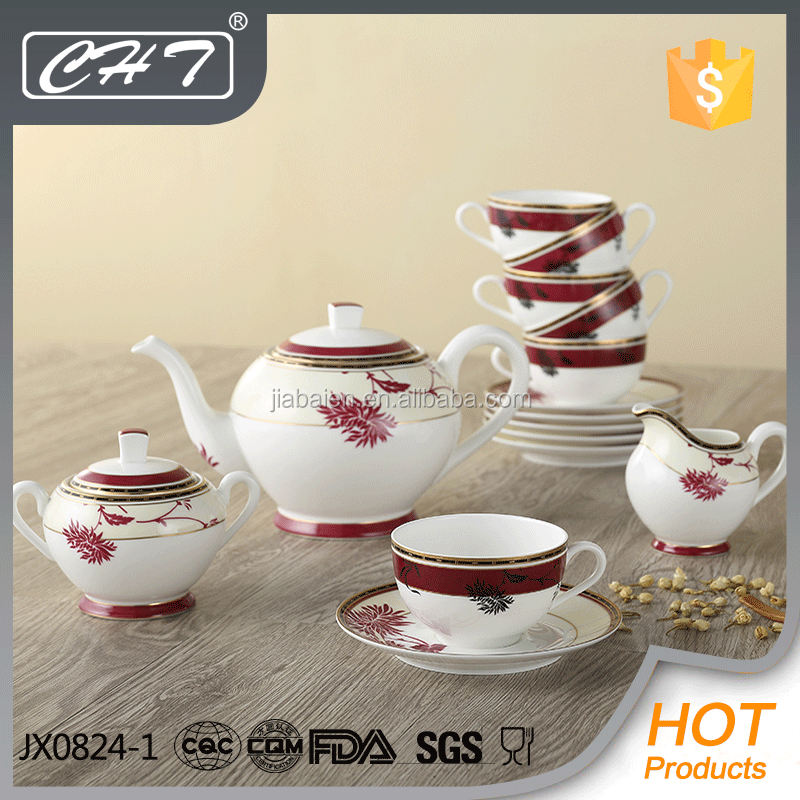 Wholesale luxury fine bone china dinner set ceramic arabic coffee tea pot for resturant